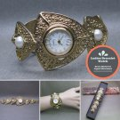 Women Gold Quartz Analog Wrist Watch Fashion Pearl Bracelet Steel Back WL02