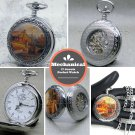 Mechanical Pocket Watch Deer Design Silver Men with Chain and Gift Box 14A