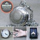 SILVER Antique Pocket Watch Japan Quartz Brass Case + Fob Chain + Gift Box P264