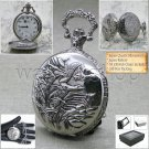 Water Bird SILVER Antique Pocket Watch Quartz 47 MM Men Gift Fob Chain + Box 221