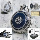 Silver Pocket Watch Men Antique Quartz Blue Enamel Cover White Dial & Chain P215