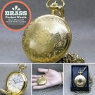 "Gold Antique Pocket Watch Brass Case Men Size Gift + 14"" Fob Link Chain P283"