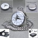 SILVER Antique GOLF Open Face Quartz Pocket Watch with Chain and Gift Box P180