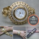 Gold Quartz Analog Women Wrist Watch Crystal Bracelet Steel Back WL01