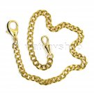 """Gold Pocket Watch Chain 14"""" Curb Brass Fob Chain Loster Clasp Men Accessory FC04"""