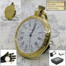 GOLD Antique Style BIG Size Open Face Quartz Pocket Watch Fob Chain Gift Box 201