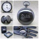 DAKOTA Gun Metal Black Pocket Watch Men Gift 42 MM with Fob Chain and Box P367