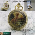 "GOLDEN RETRIEVER Gold Pocket Watch Large Brass Case 47 mm + 14"" Fob Chain C54"