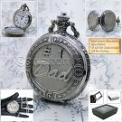 SILVER Antique #1 DAD Design Gifts Mens Quartz Pocket Watch Fob Chain Box P219