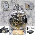 Silver and Gold DEER Pocket Watch Quartz Men White Dial includes Fob Chain P227