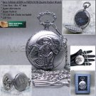 ALIEN VS PREDATOR Antique Men Quartz Silver Pocket Watch Gift Fob Chain Box C19