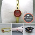 Gold Women Quartz Analog Wrist Watch Brass Bangle Red Enamel Bezel Steel Back 38