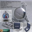 "EREMENTAR GERAD Japan Anime Silver Pocket Watch Quartz Unisex 14"" Fob Chain  C18"