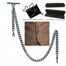 Gunmetal Albert Chain Pocket Watch Curb Link Chain T Bar Lobster + Swivel Clip
