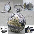 Silver Antique Gold Train Design Cover Men 47 MM Pocket Watch Fob Chain Box 214
