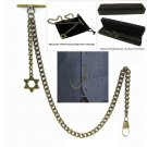 Albert Chain Pocket Watch Curb Link Chain Antique Brass Plating Fob T Bar AC38