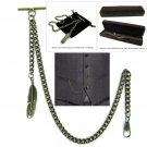 Albert Chain Pocket Watch Curb Link Chain Antique Brass Plating Fob T Bar AC50