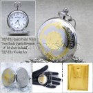 HELVETIA Swiss Movement Silver Gold Men Quartz Pocket Watch Wood Box Antique P77