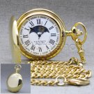 Gold Polish Brass Sun & Moon Quartz Mens Pocket Watch with Chain Gift Box P50GR