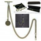Albert Chain Pocket Watch Curb Link Chain Antique Brass Plating Fob T Bar AC26