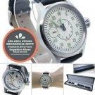 44mm STEEL Men Watch 6497 SEA-GULL ST3600 Swan-Neck Movement Sapphire Glass W409