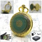 "Gold Antique Pocket Watch Men Size Quartz White Face Gift + 14"" Fob Link P126"