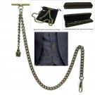 Albert Chain Pocket Watch Curb Link Chain Antique Brass Plating Fob T Bar AC60