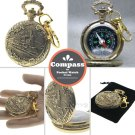 Pocket Watch Style Gold Metal Compass Train Design Liquid Fill with Swivel Clasp