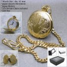 Gold Plated Antique Solid Brass Men Quartz Pocket Watch Gift Fob Chain Box P93