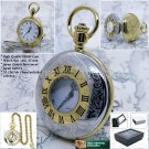 "1Silver and Gold Pocket Watch Brass Case 47 mm Men Gift + 14"" Fob Link Chain P53"