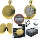 GOLD Pocket Watch Solid Brass Case XL Size 51 MM Men Gift Fob Chain & Box P108G