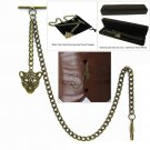 Albert Chain Pocket Watch Curb Link Chain Antique Brass Plating Fob T Bar AC25