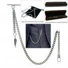 Albert Chain Silver color Pocket Watch Curb Link Chain + Feather Fob T Bar AC70