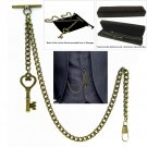 Albert Chain Pocket Watch Curb Link Chain Antique Brass Plating Fob T Bar AC19
