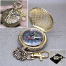 Pocket Watch Style Metal Compass Fishing Design Liquid Fill with Swivel Clasp 12