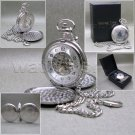 Mechanical Pocket Watch Silver Tone Skeleton 2 Sides Open with Chain and Box C24