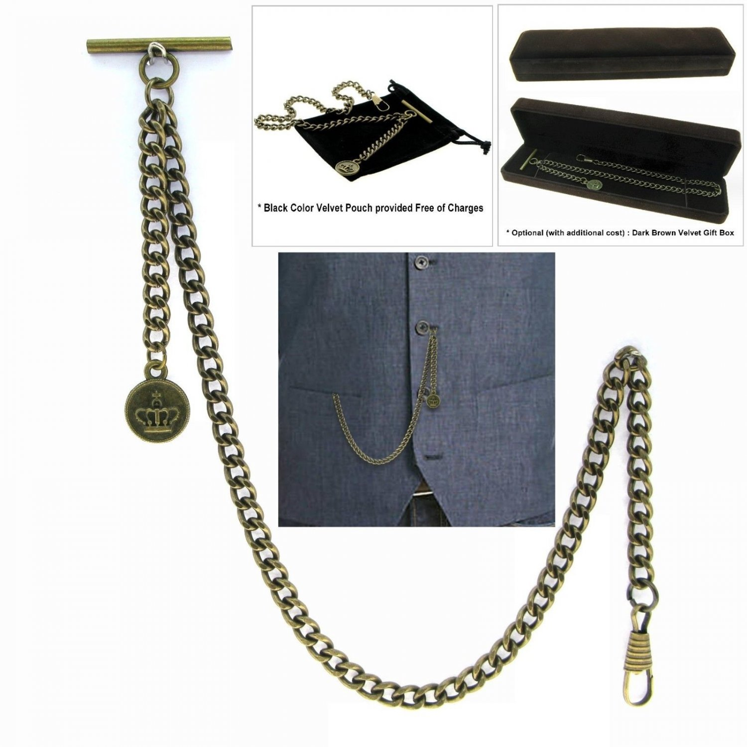 Albert Chain Pocket Watch Curb Link Chain Antique Brass Plating Fob T Bar AC37