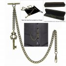 Albert Chain Pocket Watch Curb Link Chain Antique Brass Plating Fob T Bar AC40