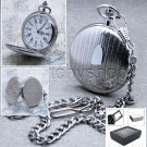Silver Pocket Watch Brass Big Size 47 MM Men Gift with Curb Link Chain & Box P75