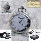 "MAYFAIR Silver Pocket Watch Unisex Antique White Dial 14"" Fob Chain Box P202"