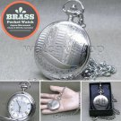 SILVER Antique Pocket Watch Brass Case Japan Citizen Movement on Chain Box P270