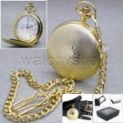 Gold Pocket Watch Solid Brass Big 47 MM with Japan Movement Chain & Gift Box P47