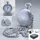 Silver Pocket Watch Big Brass Case 47mm Japan Movement with Fob Chain & Box P70A