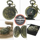 Pocket Watch Style Metal Compass Horse Design Liquid Fill Hiking on Swivel Clasp