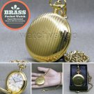 GOLD Solid Brass Antique Mens Fashion Pocket Watch Fob Chain Gift Box P265
