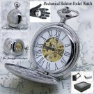 Silver Mechanical Pocket Watch Big Polish Brass Case Gold Skeleton Chain Box P42