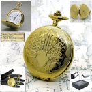 GOLD Pocket Watch Antique Men Brass Big 47 MM with Fob Curb Chain Gift Box P120