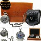 German DER ROTE BARON Aerial Memorial Silver Pocket Watch Men Gift Set  C65