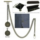 Albert Chain Pocket Watch Curb Link Chain Antique Brass Old Coin Medal T Bar A93