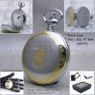 Silver Gold Pocket Watch Men Brass 47 MM with Fob Chain Swivel Clip Gift Box P56